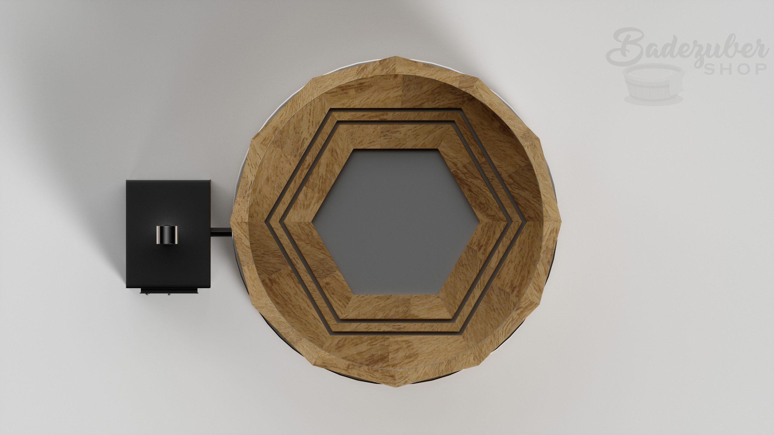 Holz Badefass mit außen Ofen - Produktbild Draufsicht