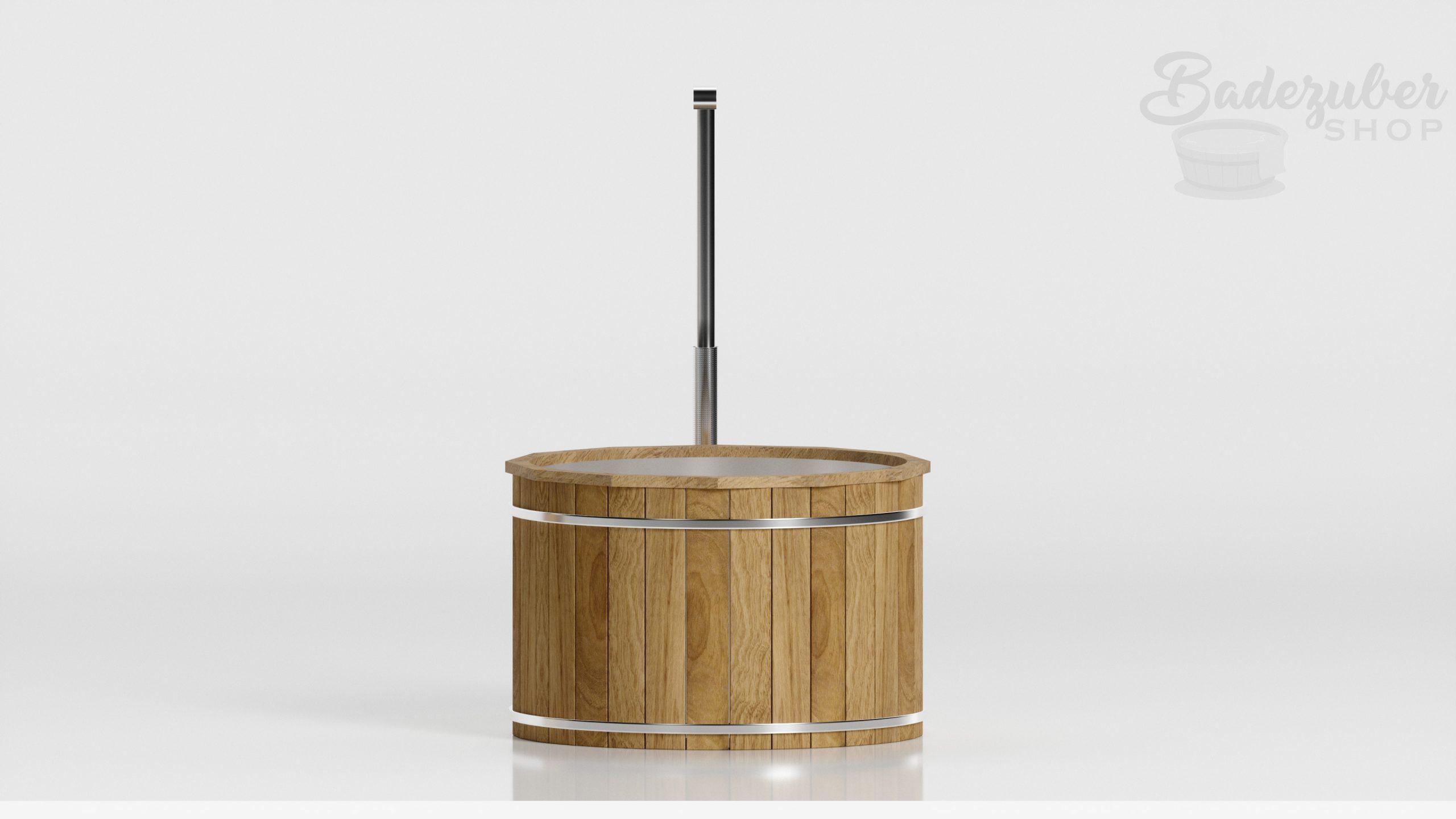 Holz Badefass mit außen Ofen - Produktbild Seitenansicht