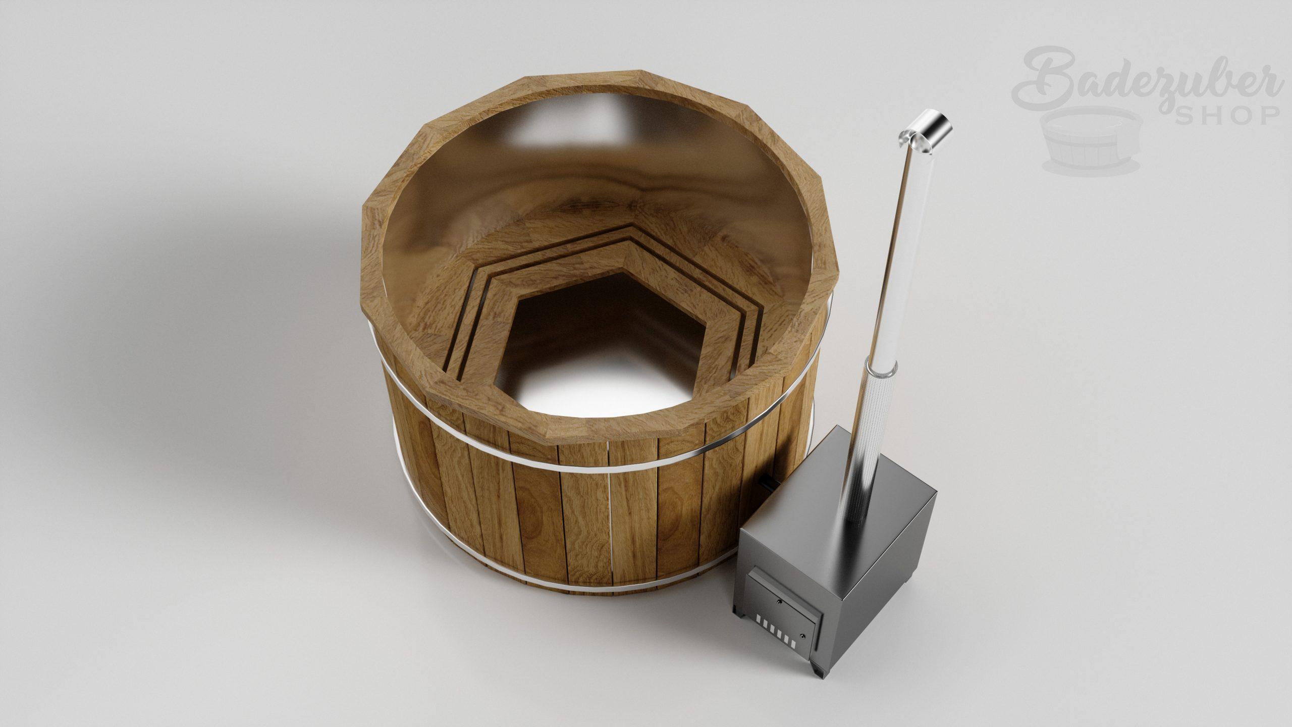 Holz Badefass mit außen Ofen - Produktbild 45° Perspektive