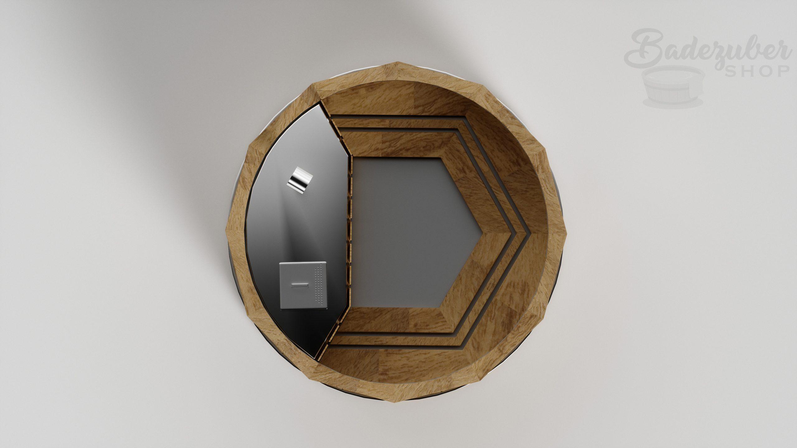 Holz Badefass mit innen Ofen - Produktbild Draufsicht