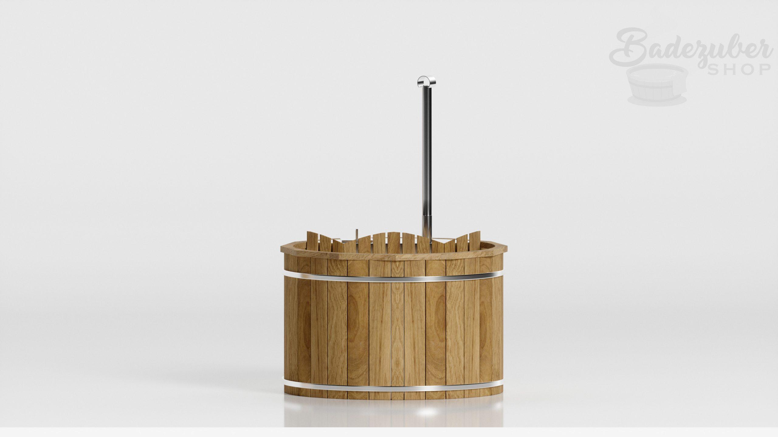 Holz Badefass mit innen Ofen - Produktbild Seitenansicht