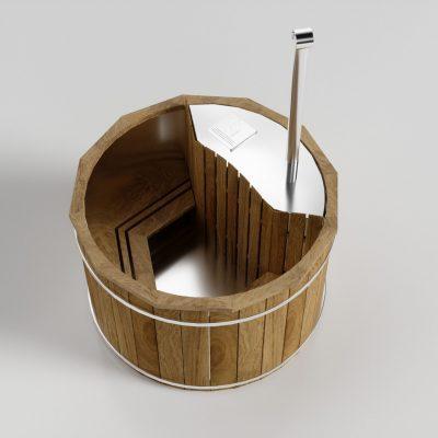 Holz Badefass mit innen Ofen - Produktbild 45° Perspektive
