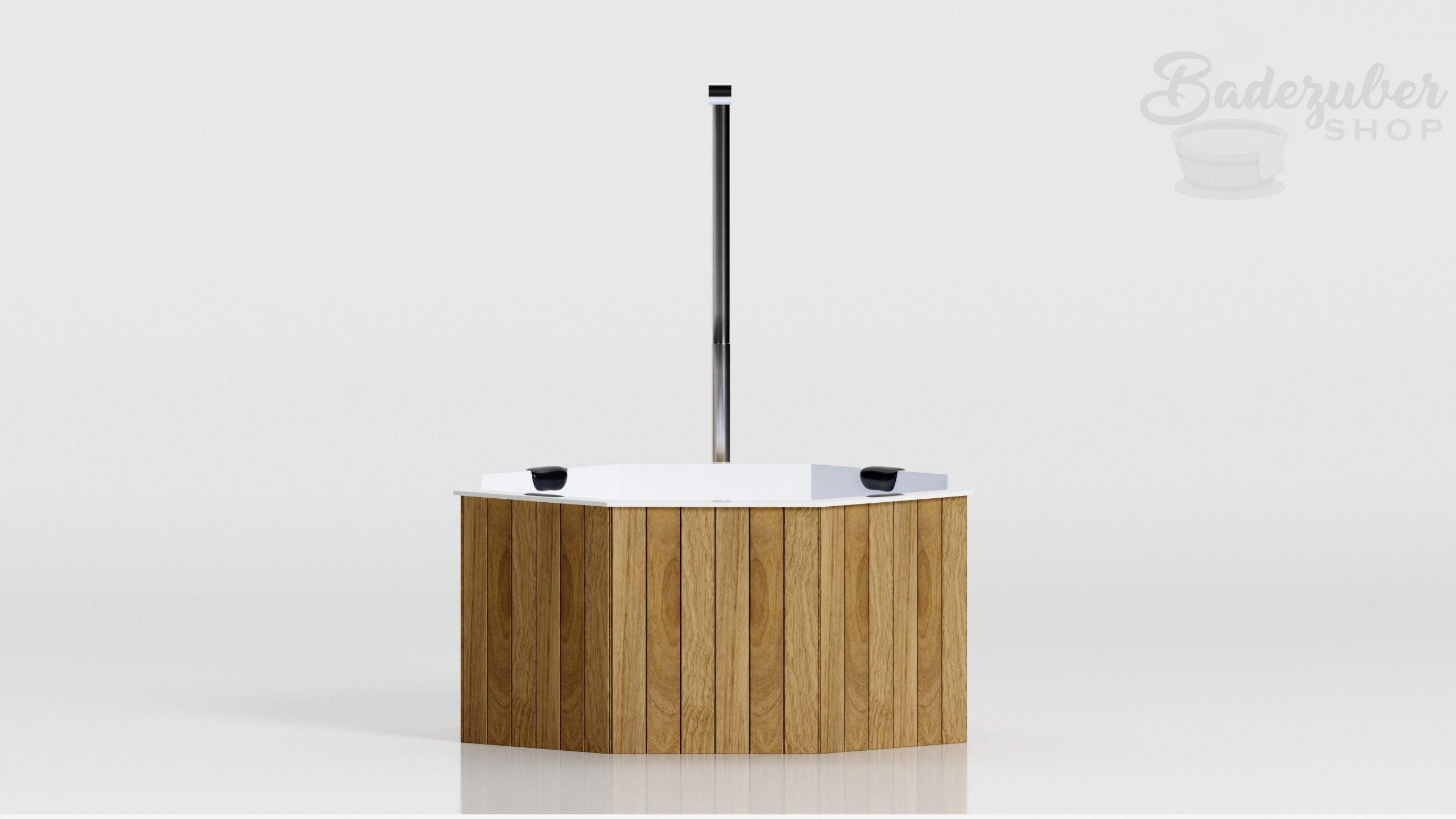 Badezuber aus GFK in Weiss - Produktbild Seitenansicht