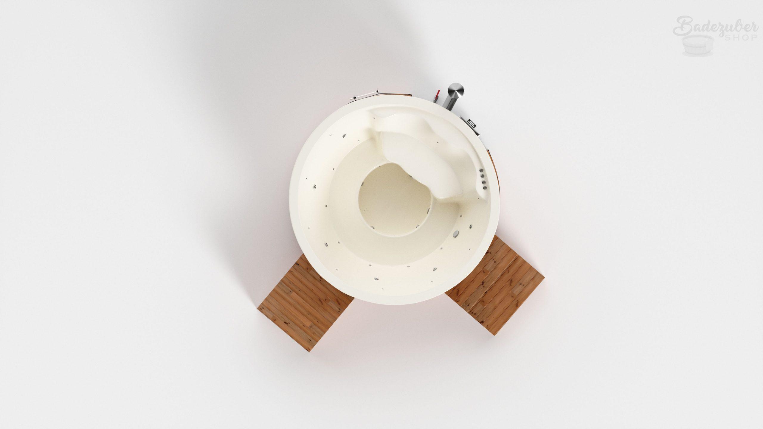 Runder Badezuber aus Acryl für bis zu 8 Personen in Weiß, Verkleidung mit Lärchenholz und Lärchenlasur