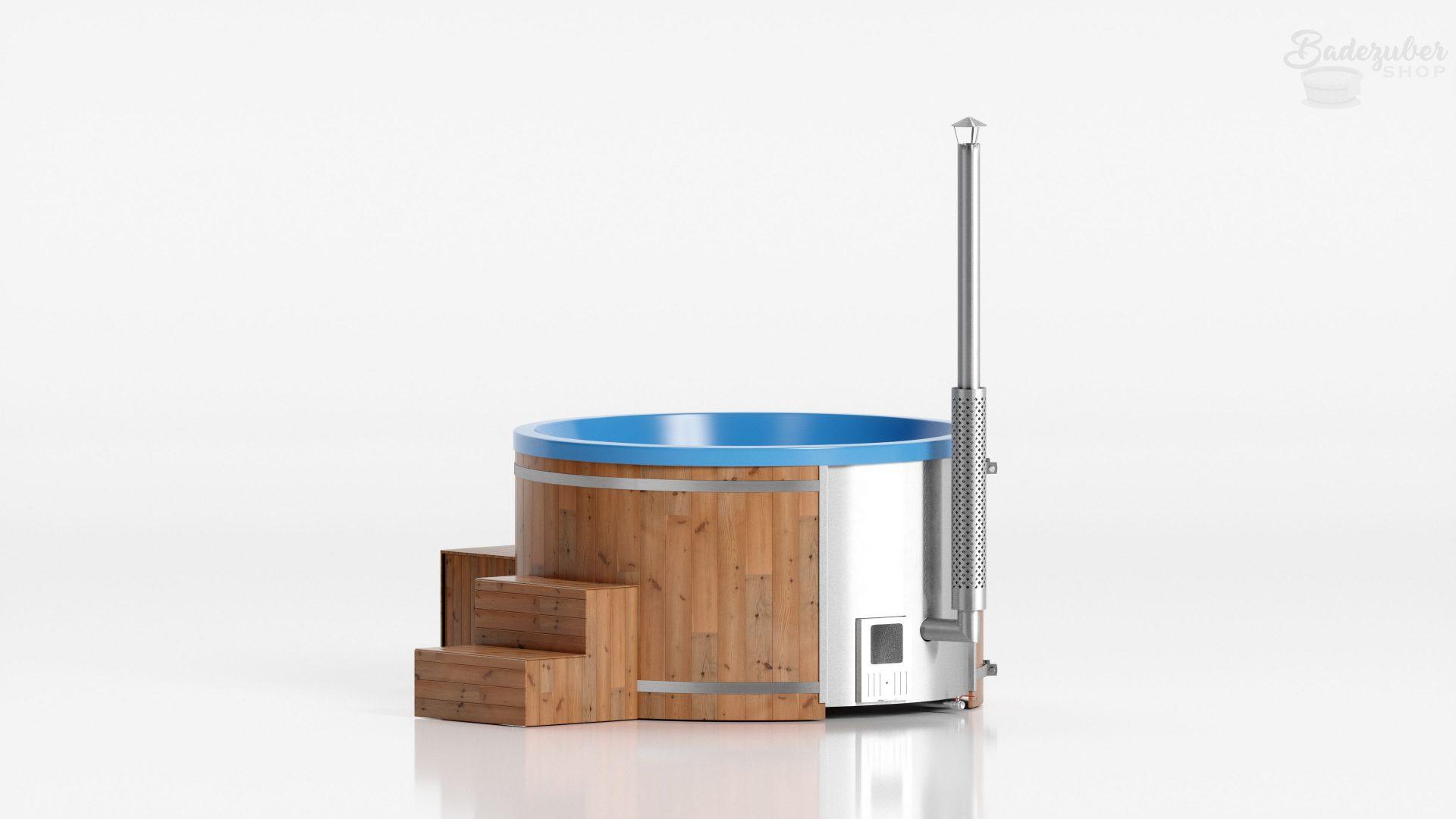 Runder Badezuber aus Acryl für bis zu 8 Personen in Blau, Verkleidung mit Lärchenholz und Lärchenlasur