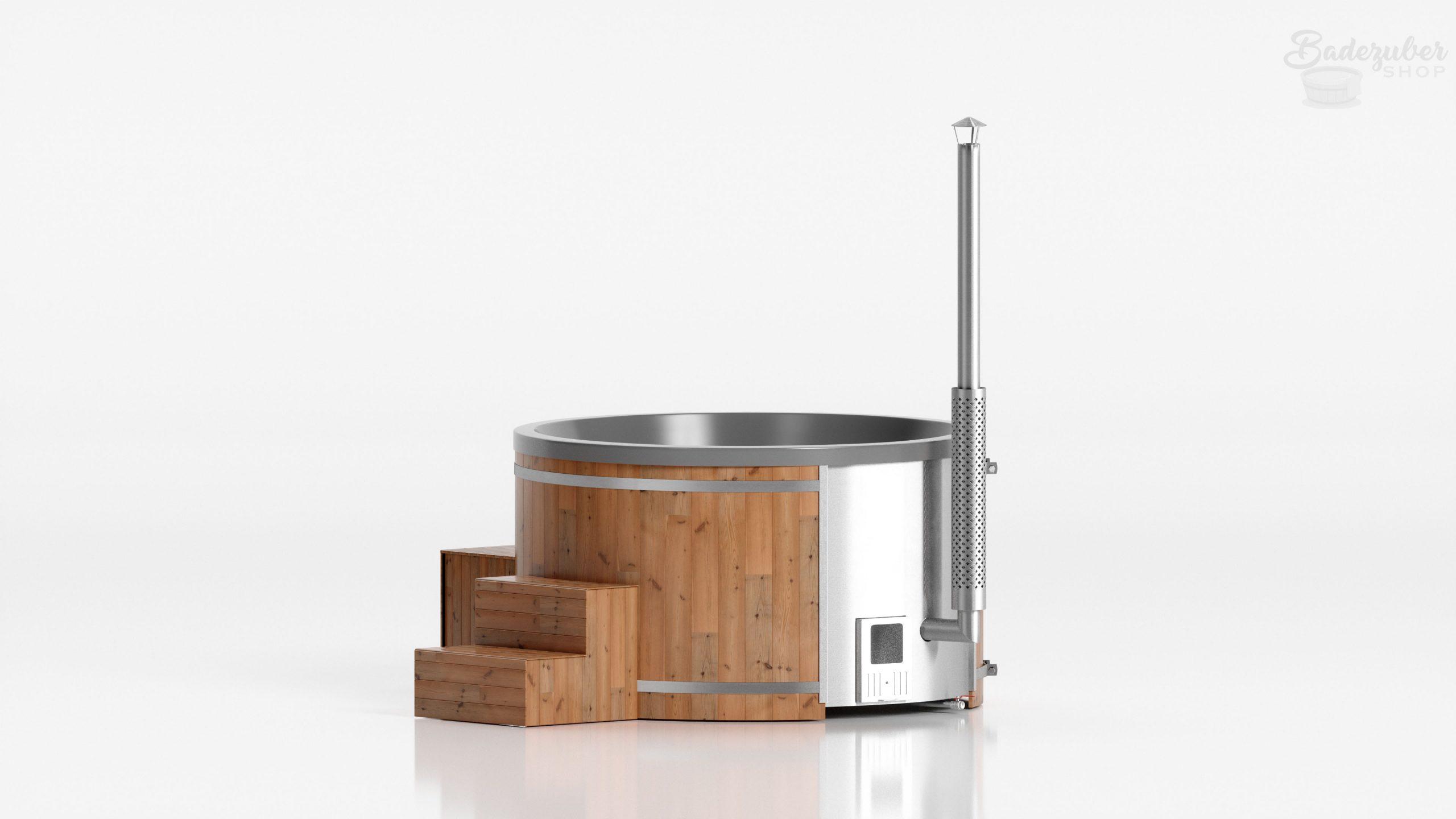 Runder Badezuber aus Acryl für bis zu 8 Personen in Grau, Verkleidung mit Lärchenholz und Lärchenlasur