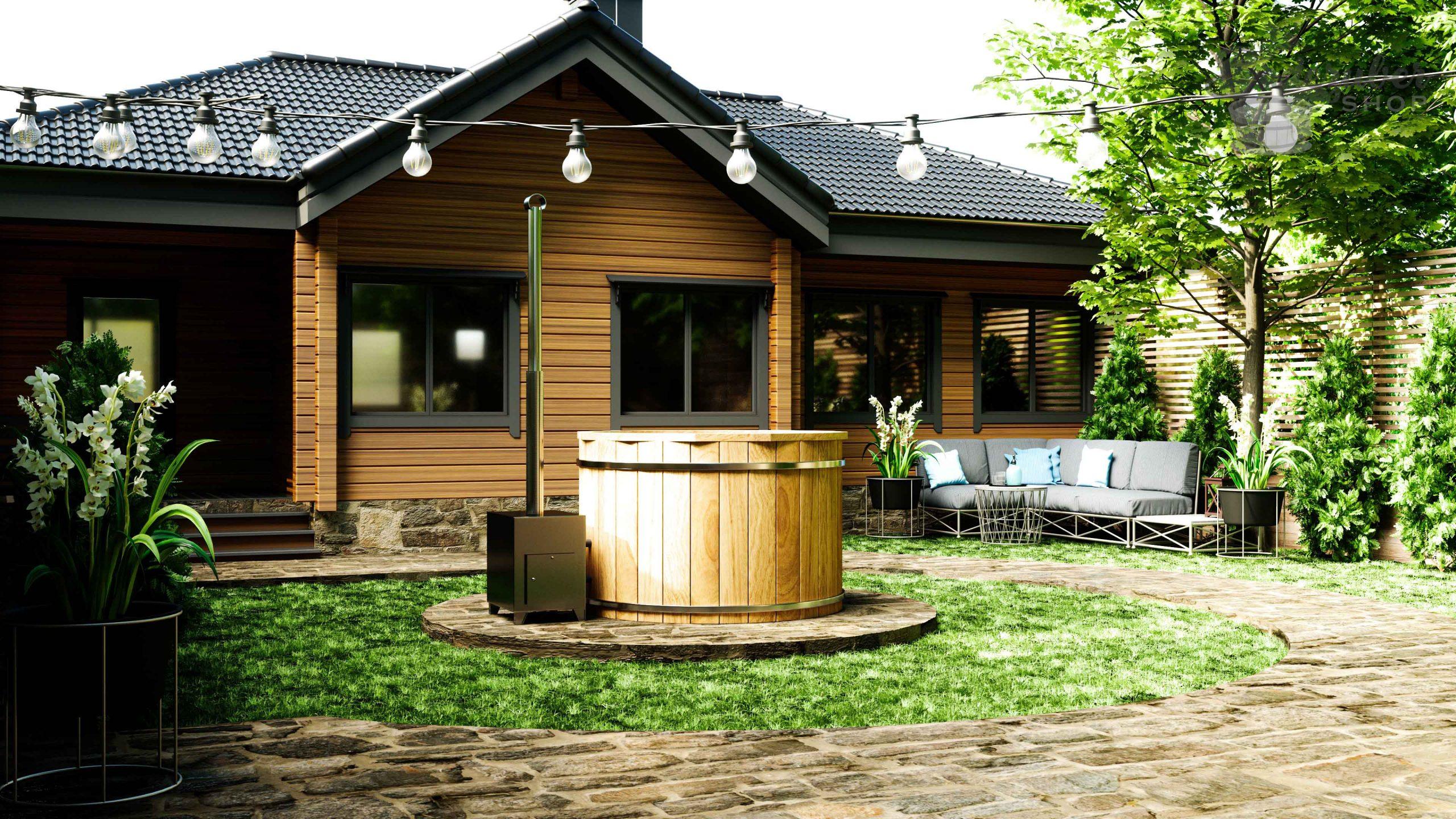 Holz Badefass mit Edelstahlbecken und außen Ofen